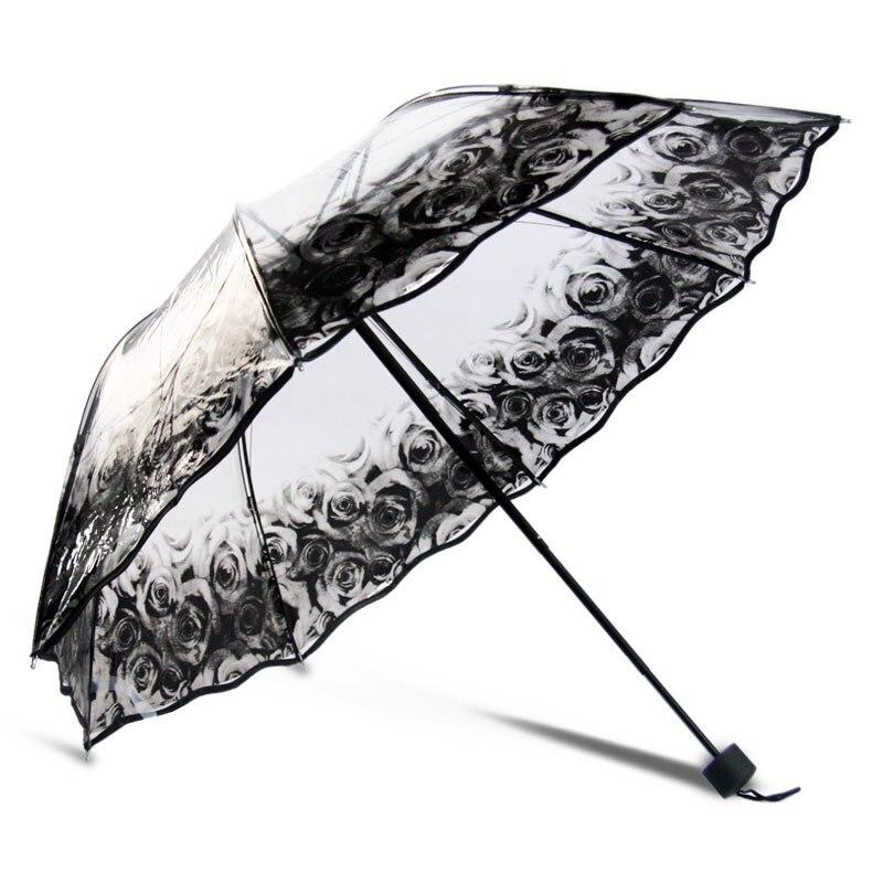 Lluvia de las mujeres del envío libre paraguas transparente paraguas soleado y lluvioso parasol espesar de tres plegable paraguas publicidad