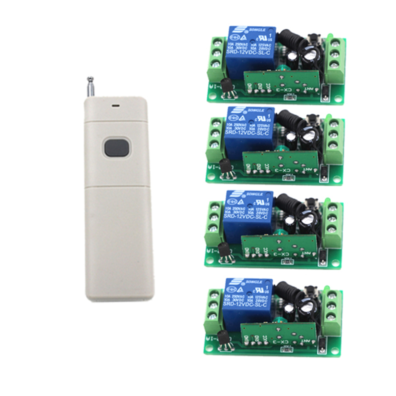 Wireless switch 12v remote control relay switch RF ON/OFF 4 Switchs + 1 Remote Controllers 4048 relay remote controller dc4v 4 5v 5v 6v 7 4v 9v 12v wireless relay switch 10a normally open close power remote on off rf rx tx