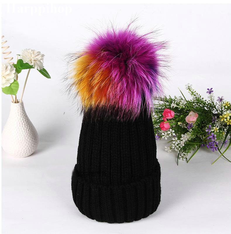 2017 New Brand Winter 100% Real big colorful Raccoon Fur Hats Knitted Wool With Gunuine Fur Pompom Beanies Hat Cap For women 2017 new brand winter 100% real big colorful raccoon fur hats knitted wool with gunuine fur pompom beanies hat cap for women