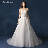 Robe De Mariee 2018 New Arrivals Lace Long Weeding Dresses With A Line Appliques Crystal Sweetheart