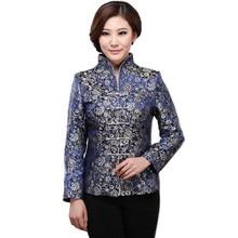 Chinese Jacket Women Spring 2016 Satin Silk Jackets Plus Size 5XL Chinese Tops Mandarin Collar Ethnic Coat Woman Wedding Jacket