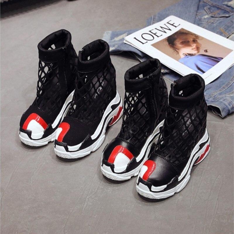 2019 Summer Casual Shoes Woman Platform Sneakers Female Mesh Breathable Zapatillas Slipony Women 12cm Heels Wedge Zipper Sandals in Women 39 s Vulcanize Shoes from Shoes