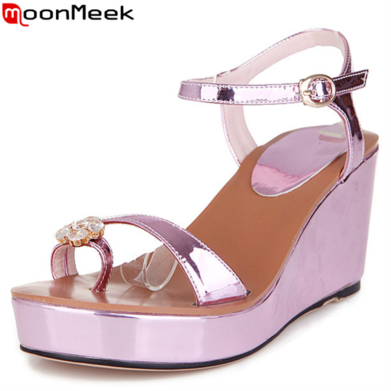 MoonMeek 2017 hot sale new arrive women sandals fashion buckle rhinestone summer high heels sandals elegant lady prom shoes brand new sale fashion low fretwork heels rhinestone women party shoes elegant sweet ankle buckle strap lady top quality sandals