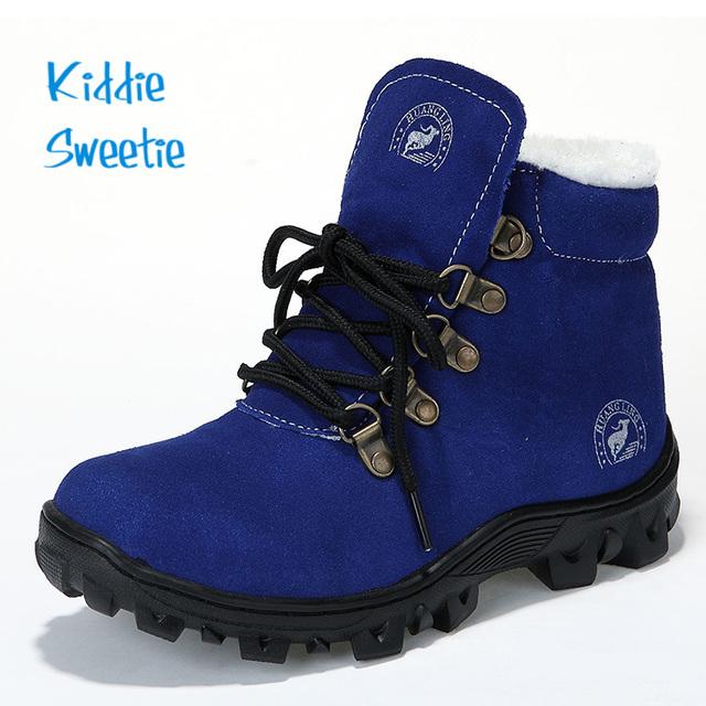Super Qualidade! genuínos Filhos de Couro Botas de Inverno Sapatos Quentes Crianças Sapatos Ao Ar Livre Meninos Grandes Ao Ar Livre