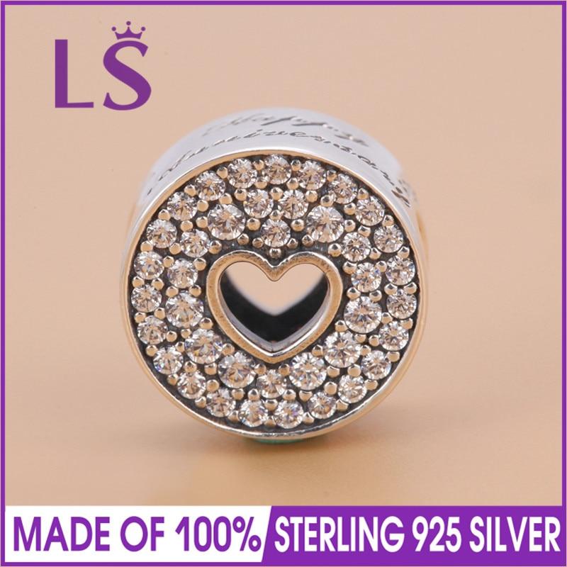 LS High Quality 925 Sterling Silver Anniversary Celebration Charm Bead Fit Original Bracelets Pulseira Encantos.100%Fine Jewlery