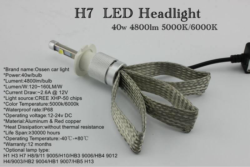 Factory Outlet Ossen 12V 2.6A R3S H7 LED Headlights 80w 9600lm 5000k 6000k Xenon White H1 H3 H4 HB3 H8 H9 H11 LED Bulb Headlight 2