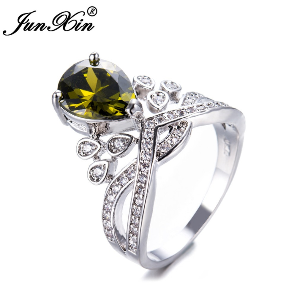 JUNXIN Yellow/Black/Pink Zircon Ring Princess Crown Promise Ring White Gold Filled Big Wedding Rings For Women Luxury Jewelry