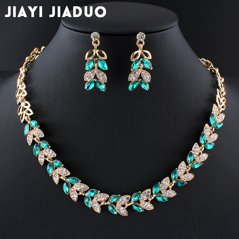 Jiayijiaduo New Wedding Jewelry Sets For Charming Women Dresses Dating Accessories Green Glass Crystal Necklace Earrings Sets(China)