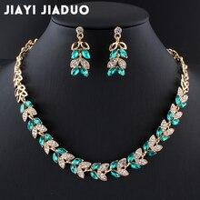Jiayijiaduo Новые Свадебные Ювелирные наборы для очаровательных женских платьев аксессуары для свиданий зеленое ожерелье со стеклянными кристаллами серьги наборы