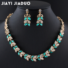 jiayijiaduo New Wedding Jewelry Set for Charming Women Dresses Dating Accessories Green Glass Crystal Necklace Earrings Set 4