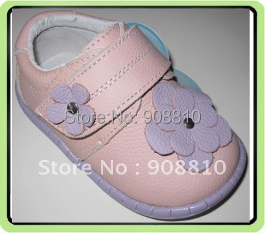 baby soft leather shoes pink with purple flowers girls shoes purple sole new arrival retail wholesale free shipping