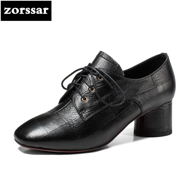 {Zorssar} 2018 New arrival Genuine Leather womens heels pumps Lace up Round toe thick heel High heels fashion women Dress shoes zorssar 2018 new genuine leather fashion women shoes high heels platform pumps thick heel round toe mary jane womens shoes