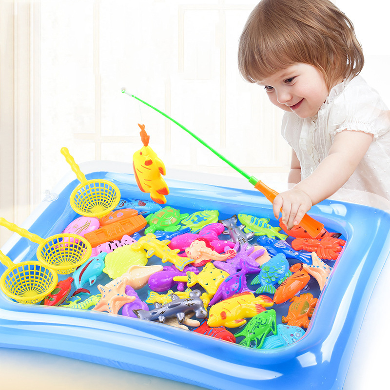 Fish Toy Water Pool Magnetic Fish Pole Rod Net 20pcs 38pcs Kid Child Model Play Game Outdoor Learning Baby Boy Girl Fishing Gift