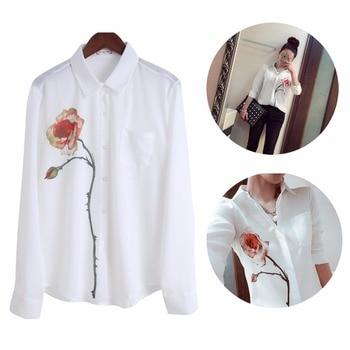 NEW Fashion Women White Long Sleeve Rose Flower Printed Chiffon Shirt Casual Blouse New