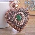 Resina de la vendimia Del Corazón de Cuarzo Reloj de Bolsillo Colgante Collar Para Las Mujeres Hombre Exquisito Cristales Oro Antiguo Downton Abbey Noble Joyas