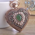 Vintage Resin Heart Quartz Pocket Watch Pendant Necklace For Women Man Exquisito Crystals Antique Gold Downton Abbey Noble Joyas