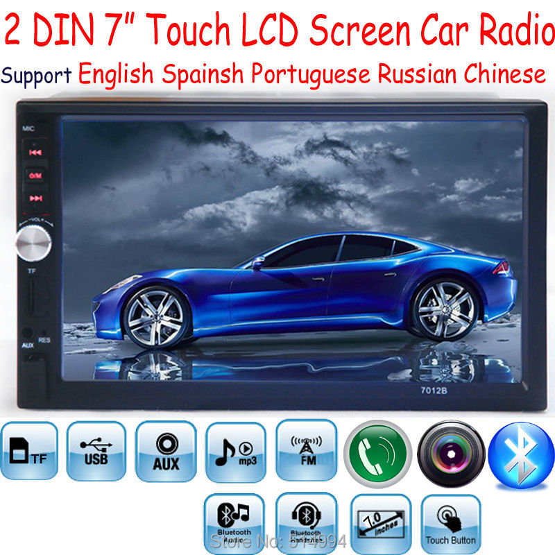 New 2 Din 7'' inch LCD Touch screen car radio player support 5 Languages Menu BLUETOOTH hands free rear view camera car audio
