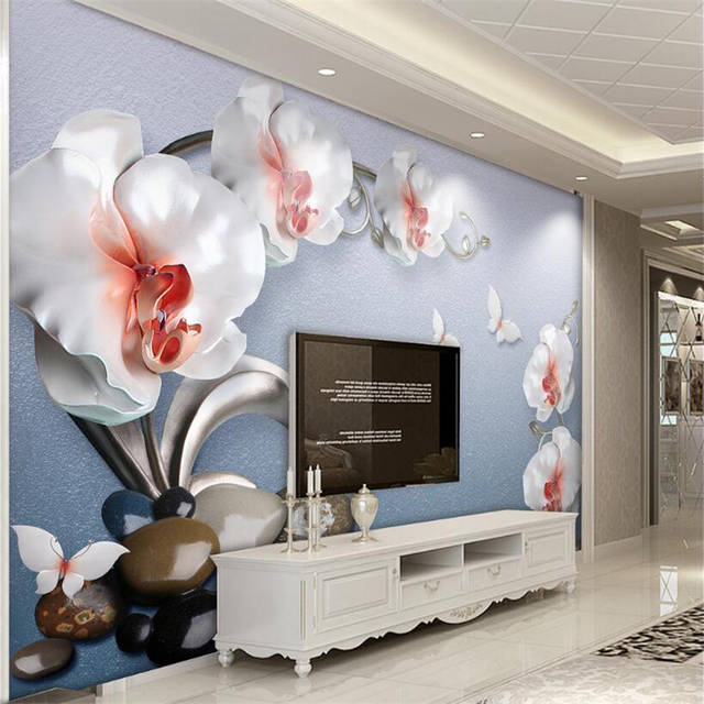 Beibehang Custom Wallpaper Living Room Bedroom Mural Luxurious Stereo Relief Flower Sofa Tv Background Mural 3d Wallpaper Photo