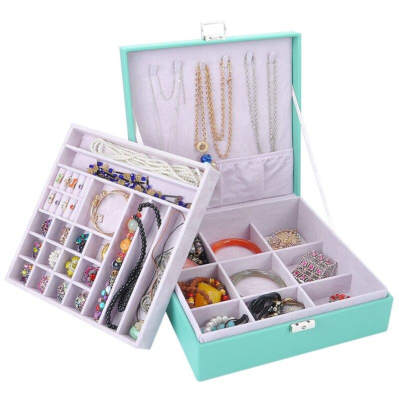 Guanya femmes grand carré anneau boucles d'oreilles en cuir boîte à bijoux organisateur de maquillage Style classique Double couche haute qualité cadeau étui - 2