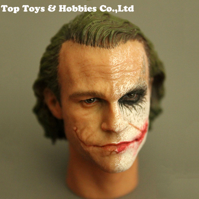 For collection 1/6 Scale Male Head Sculpt Half Makeup Clown Joker Head Carved Model with Neck Accessory Head Carvings Toys Gift