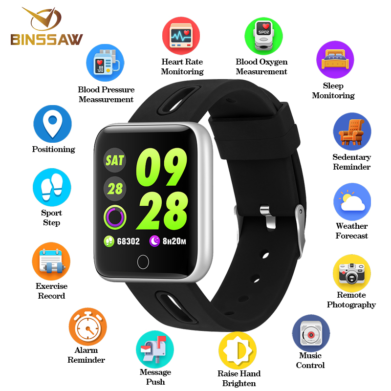 BINSSAW Men Women Smart Watch Sport Step Blood Oxygen Bluetooth Digital Clock LED Large color Touch Screen Android IOS with BoxBINSSAW Men Women Smart Watch Sport Step Blood Oxygen Bluetooth Digital Clock LED Large color Touch Screen Android IOS with Box