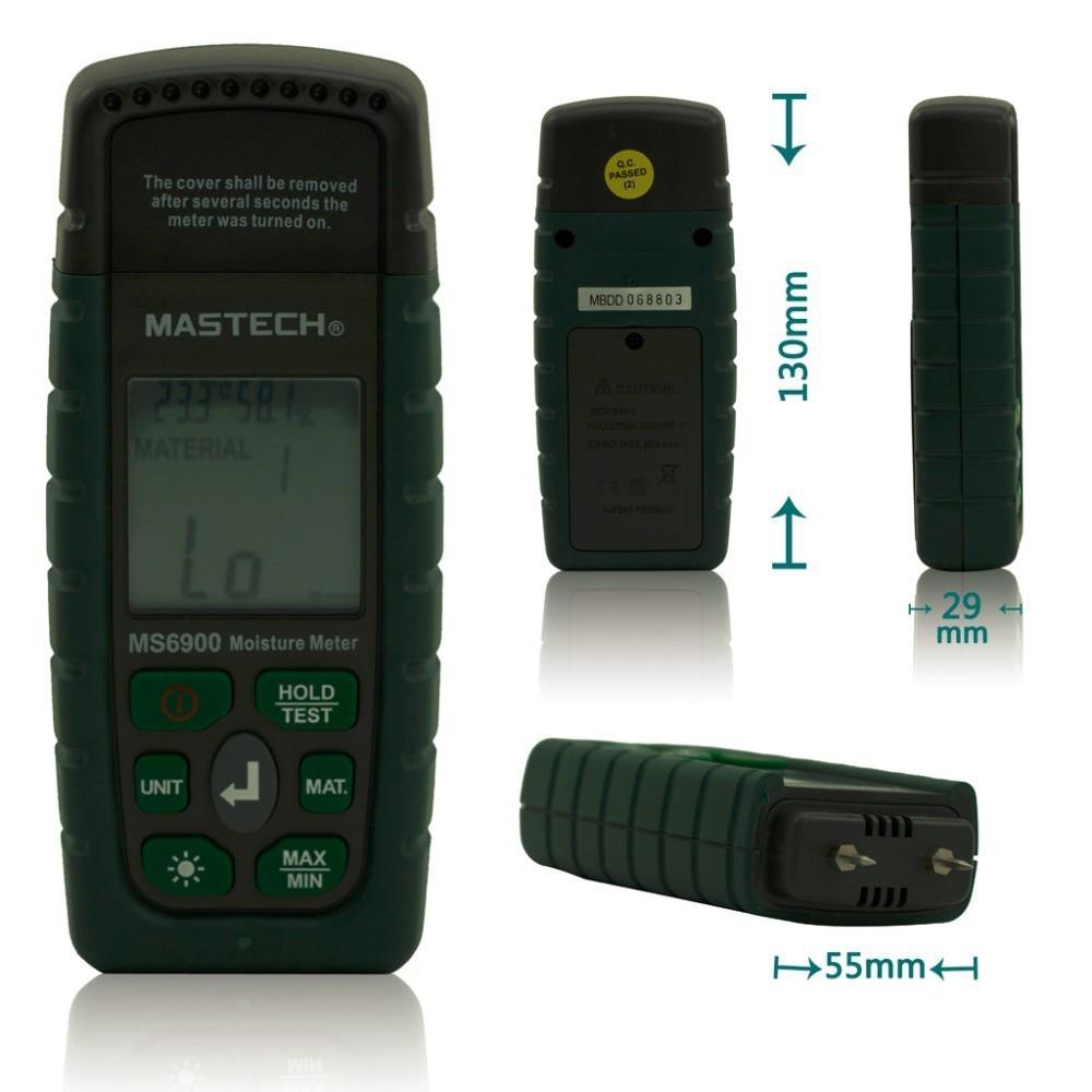 ФОТО Mastech MS6900 Mini humidity Digital LCD Moisture Meter tester Wood/ Lumber/Concrete Buildings hygrometer termometro