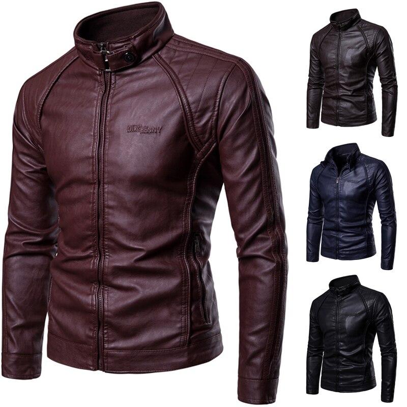 PU cuir veste hommes nouveau hommes Stand-up col manteau de fourrure avec fermeture à glissière boutons en métal décoratif Letterpress manteau en cuir