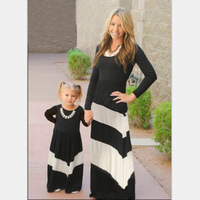 2016 Mommy And Me Matching Dresses Summer Mother And Daughter Girls Outfits Chervon Lace Fall Blue