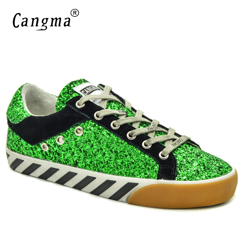 CANGMA Original Brand Sneakers Women Shoes Vintage Autumn Green Black Glitter Sequined Woman Shoes Zapatos Mujer Plus Size Flats glowing sneakers usb charging shoes lights up colorful led kids luminous sneakers glowing sneakers black led shoes for boys