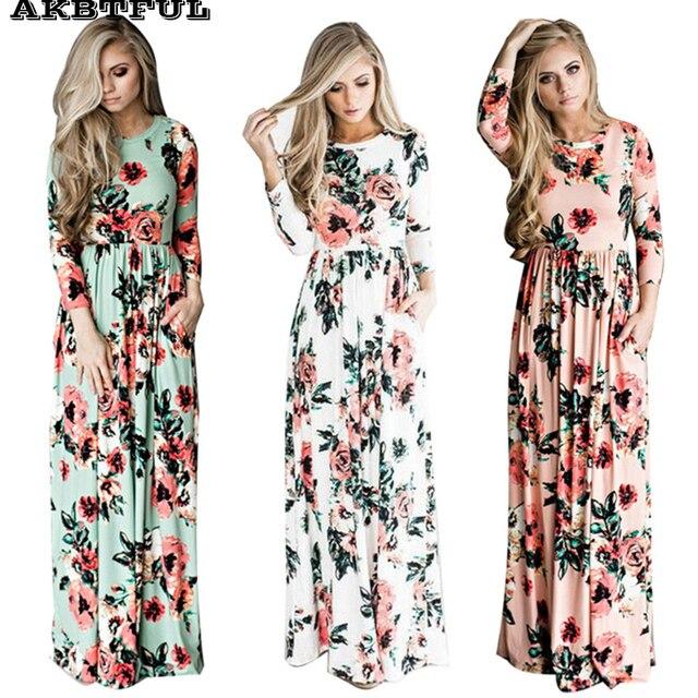 4f8af0cc45b35c Casual boho lente jurken voor vrouwen multicolor o hals lange jurk vrouwen  zomer zonnejurk Strand Tuniek