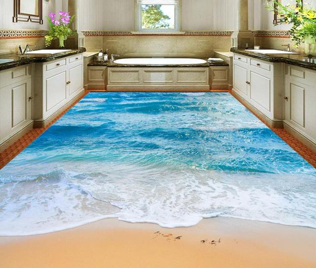 Berühmt 3d boden malerei tapete 3D meer strand badezimmer boden wandbilder #XK_18