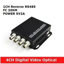 4 CH Digital video optical multiplexer with 1 way reverse data RS485 optical fiber FC 20KM