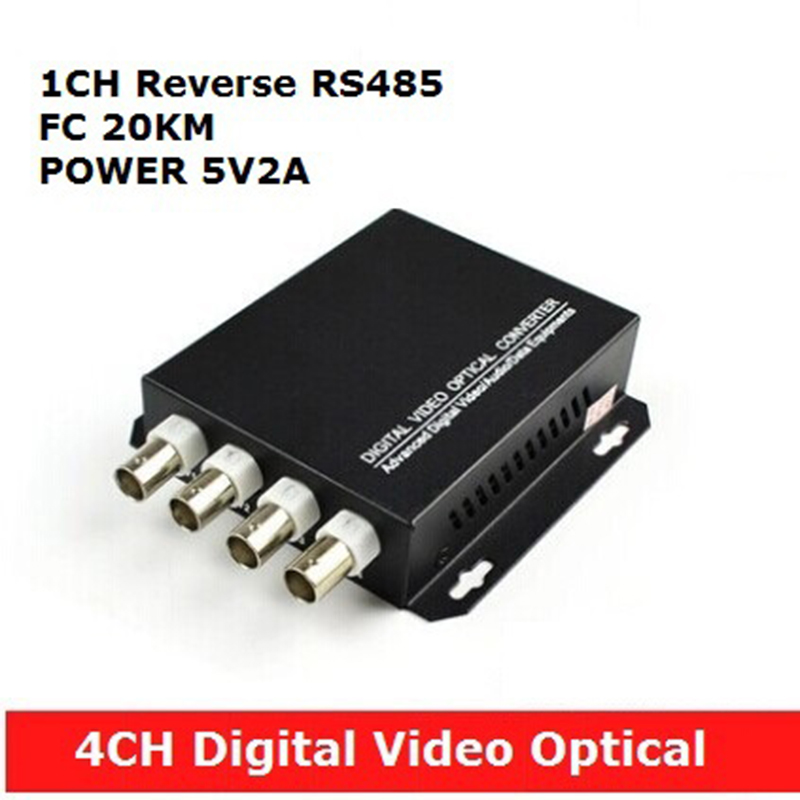 4 CH Digital video optical multiplexer with 1 way reverse data RS485 optical fiber FC 20KM rs232 to rs485 converter with optical isolation passive interface protection