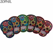 ZOPHIL Patches Iron On Clothes DIY Flower Skull Embroidered Appliques For Clothing Fabric Badge Sewing Apparel Accessories