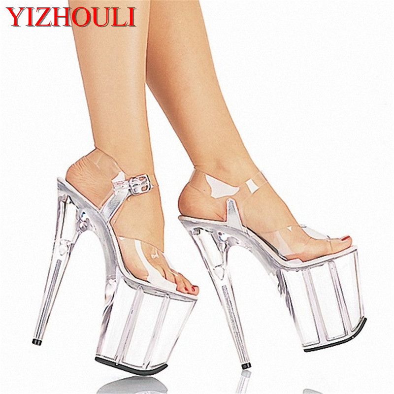 Full Clear Crystal 20CM Super High Heel Platforms Pole Dance / Performance / Star / Model Shoes, Wedding Sandals 15cm sexy super high heel platforms pole dance performance star model shoes wedding shoes crystal shoes