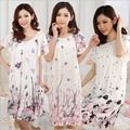Hot 2016 Women's fashion Cozy Large size sleepwear Breathable Short sleeve Nightgowns Flowers printing nightgown