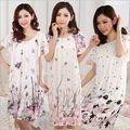 Quente 2016 moda das Mulheres Cozy tamanho Grande sleepwear Respirável Camisolas de manga Curta Flores impressão camisola