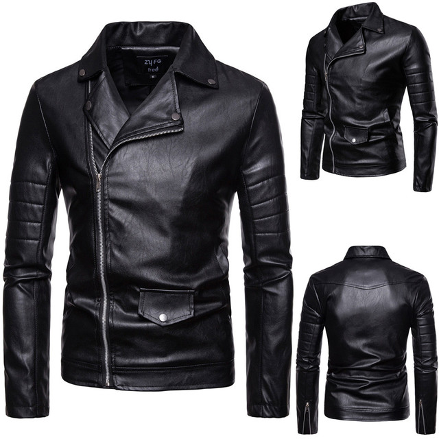 Men's Casual Zipper Leather Jacket Long Sleeve durable for your daily wearing