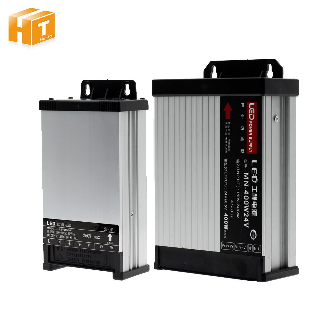 LED Outdoor Regen Netzteil AC190-240V DC12V/DC24V 60 watt 100 W 200 watt 250 watt 400 watt LED fahrer Beleuchtung Transformatoren