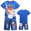 Nueva Muchachos Fijados Ropa Cartoon POLVORIENTO AVIÓN Avión Niños Casuales Pantalones Conjuntos de Ropa Para Niños Camiseta Del Verano Niños Que Arropan el sistema