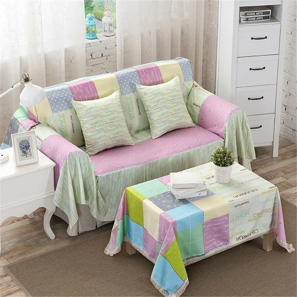 Pastoral Style Polyester Fabric Sofa Cover Slip-Resistant Drawing Room  Decorate Single/Double/