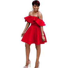 af8c34c317 Womens Clothing African Casual Party Elegant Ruffles Slash Neck Off Shoulder  Above Knee Dance Ball Gown