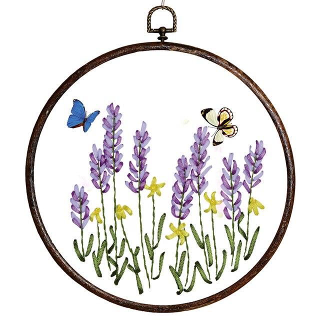 DIY Band Stickerei Handkreuzstich Kit für Anfänger Lavendel Blumen ...