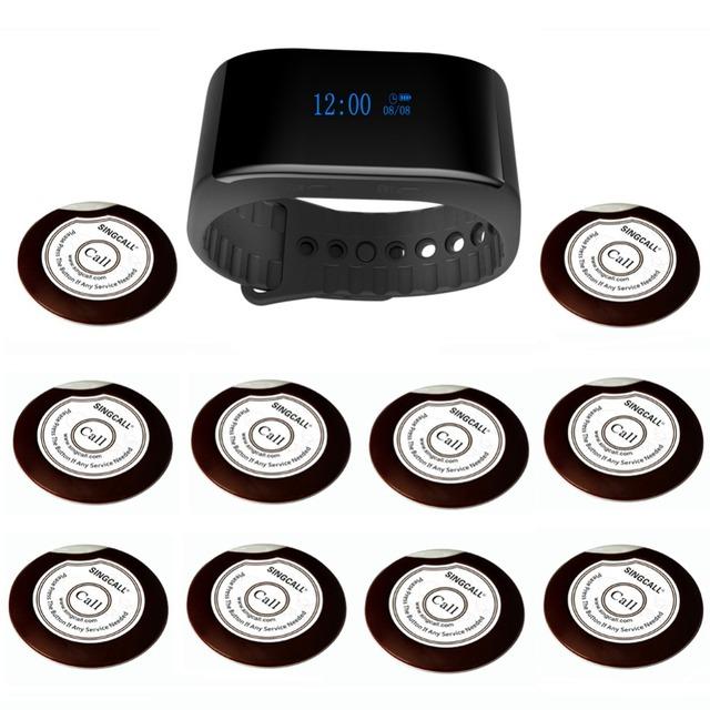 Sistema de paginación singcall sistema de servicio del hotel bank inalámbrica buscapersonas restaurante 1 reloj servicio 10 botones de llamada del camarero