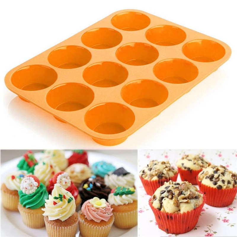 <font><b>12</b></font> <font><b>Cups</b></font> Baking <font><b>Muffin</b></font> Cake Mold <font><b>Tray</b></font> <font><b>Silicone</b></font> Oven Bakeware Pan <font><b>Non</b></font> <font><b>Stick</b></font> <font><b>Cup</b></font> Cakes <font><b>Muffins</b></font> <font><b>Maker</b></font> Mould Microwave Safe drop ship