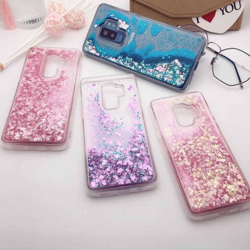 Liquid Case for Samsung Galaxy S9 Glitter Silicone Cases for Funda Samsung S 9 Plus Coqu ...