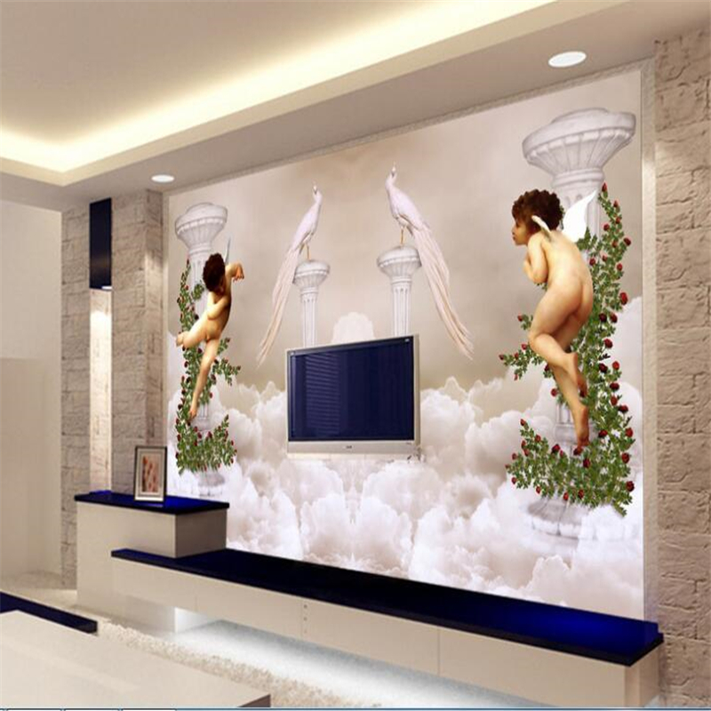 beibehang Custom large-scale photo mural 3D dream personality European angel art relief sliding door sofa background wallpaper beibehang custom european victoria photo