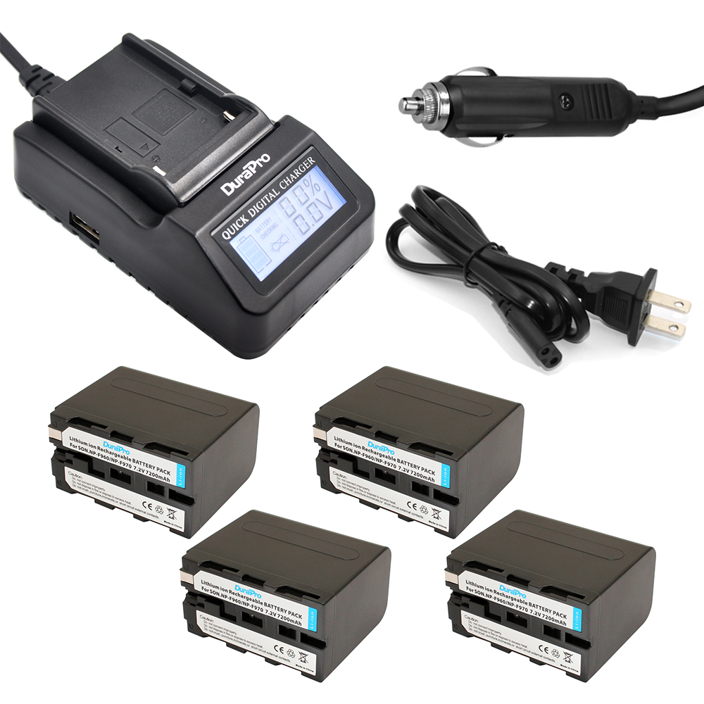 все цены на  DuraPro 4PCS NP-F960 NP-F970 Battery + LCD Ultra Quick Charger for Sony HVR-HD1000 V1J V1J CCD-TRV26E DCR-TR8000 PLM-A55 HVR-V1U  онлайн