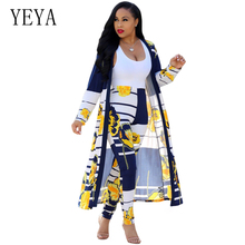 YEYA Women Two Piece Outfits Print Rompers Long Sleeve Elegant Bodycon Jumpsuit