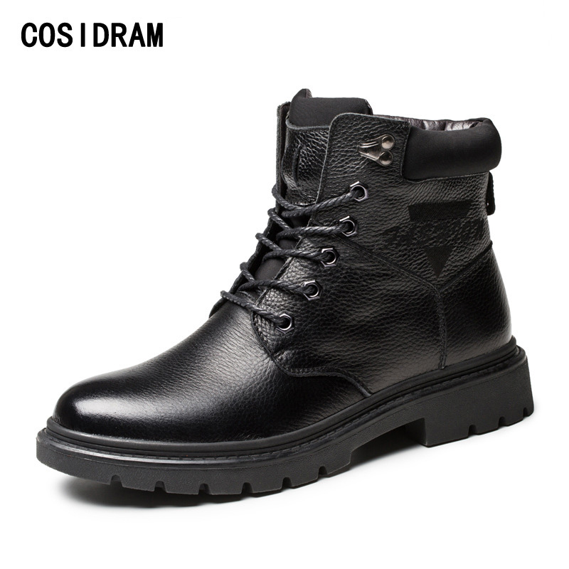 COSIDRAM Warm Winter Shoes Men Boots Genuine Leather Ankle Motorcycle Boots With Fur High Top Men